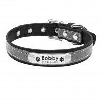 Personalized Laser Engraved Reflective Dog Collar  - Leather