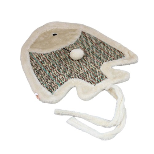 Sisal Cat Scratcher Mat Pad Plush Pet Bed (Tropical Fish)