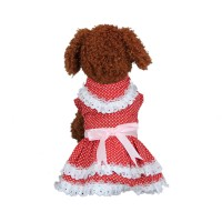 Red Fashion Pleated Dog Dress