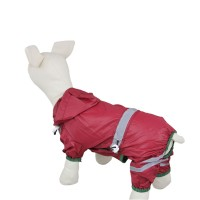 Water-proof Reflective Tape Dog Raincoat-Purplish Red