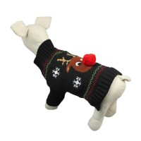 Dog Elk Black Pullover Knit Sweater