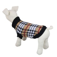 Plaid Knitwear Dog Sweater Pet Apparel, Coffee