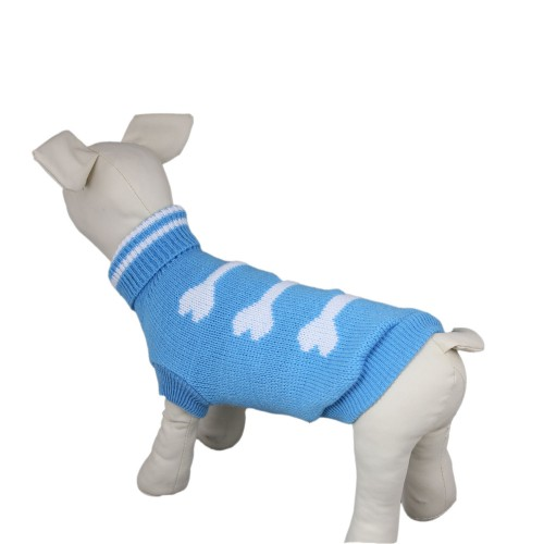Light Blue Turtleneck Knit Bones Dog Sweater Clothes