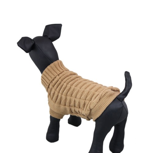 Knitted High Collar Dog Sweater Clothes, Khaki