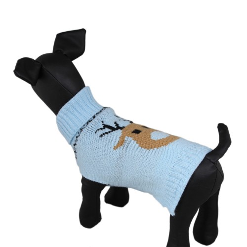 Christmas Reindeer Dog Knit Sweater Pet Clothes Blue