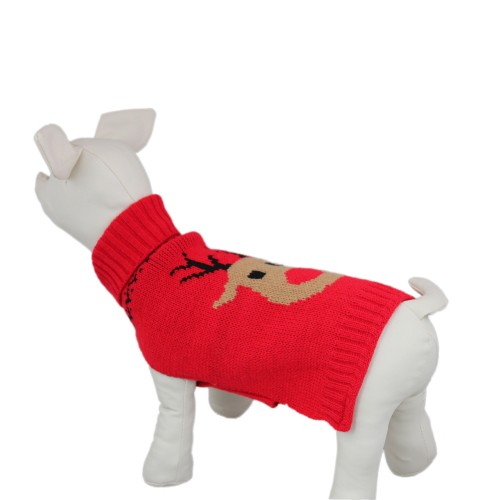 Christmas Reindeer Dog Knit Sweater Pet Clothes, Red