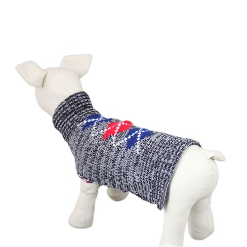 Gray Knit Dog Plaid Patterns Sweater Clothes