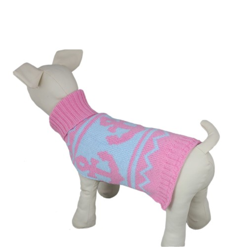 Knitwear High-necked Dog Sweater, Pink
