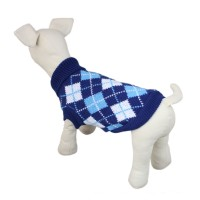 Pet Plaid Knitwear Sweater Blue