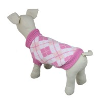 Pink High-collar Plaid Dog Knit Sweater
