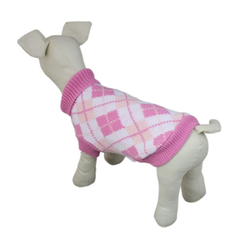 Pink High Collar Plaid Style Dog Knit Sweater Coat