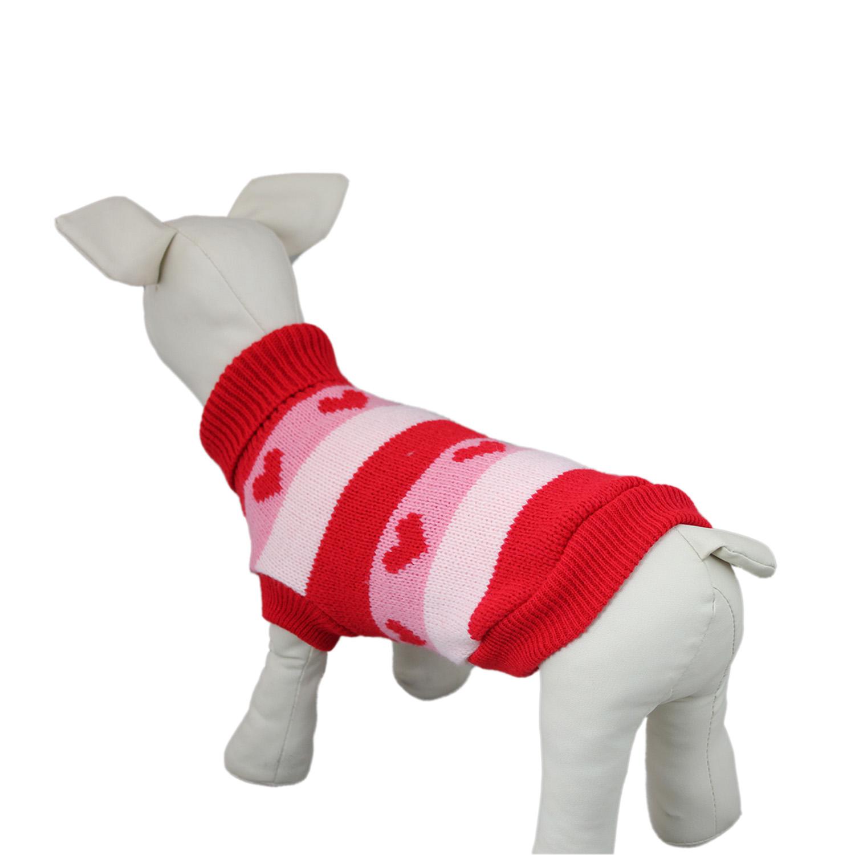 Hearts Pattern Knit Dog Sweater Coat