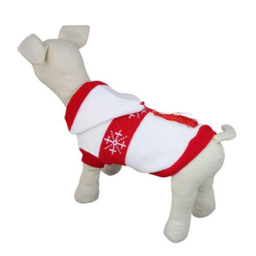 White Snowflake Series Pet Knitted Dog Hoodie Sweater