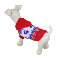 Red Hooded Dog Knitwear Sweater Clothes