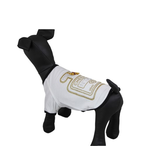 White bronzing hot drill Dog t-shirt Pet Clothes