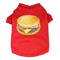 Hamburger Costume Pet Printed T-Shirt Vest Apparel Dog Cat Clothes