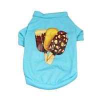 Dog Cotton T-Shirt Summer Popsicle Clothes Puppy Cool Clothing, Blue