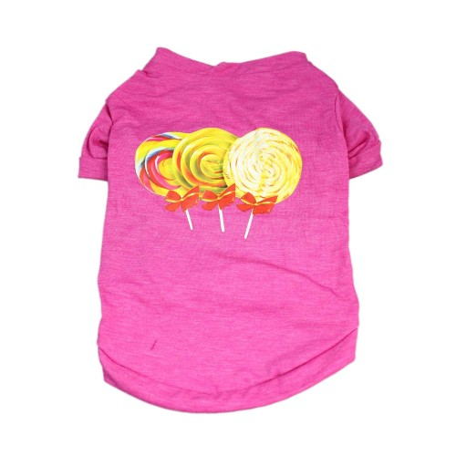 Dog Princess Lollipop Printed Vest Summer T-Shirts Breathable Clothes, Pink