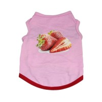 Pet Shirts Strawberry Printed T Shirt For Dog Summer Vest Clothes