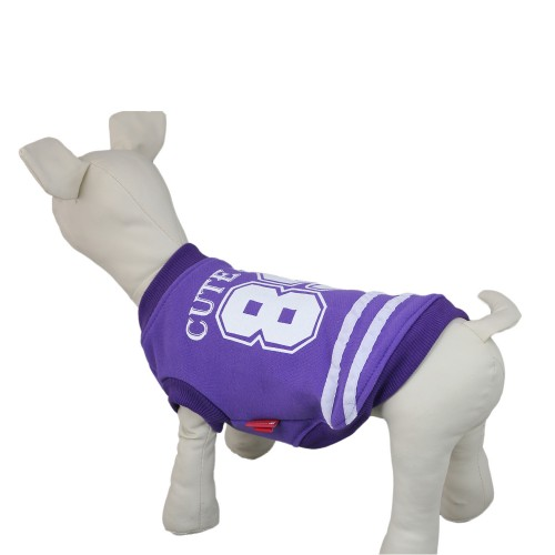 Pet Baseball Jacket Dog Coat Sweater-Purple