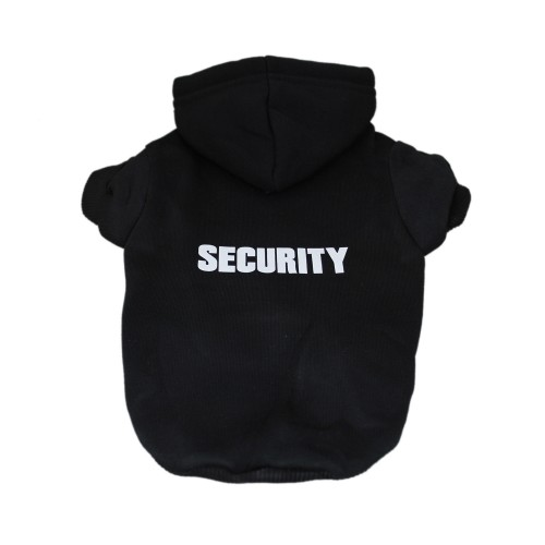SECURITY Patterns Printed Pet Hoodie Dog Clothes Pullover Coat, Black