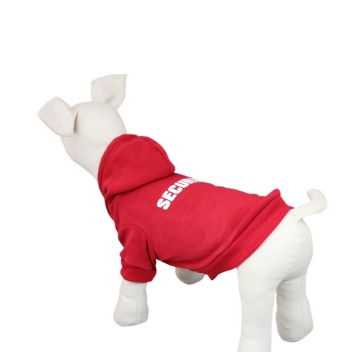 SECURITY Patterns Printed Pet Hoodie Dog Clothes Pullover Coat, Red