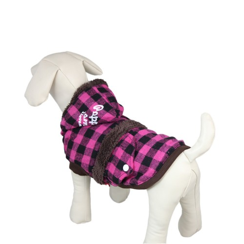 Pink Fashion Plaid Dog Jacket Clothes Pet Coat