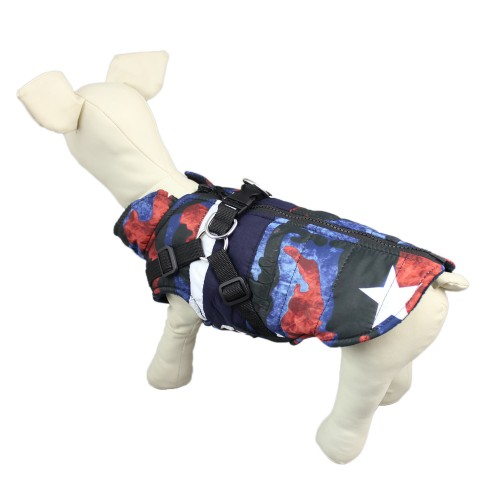 Pet Traction Buckle Five-Star Winter Warm Plus Velvet Jacket