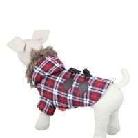 Warm Plaid Pet Coat Dog Hoodie Clothes Jacket