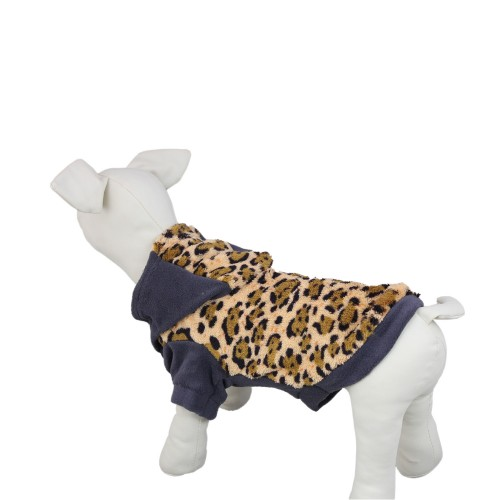 Hooded Leopard Coral Velvet Dog Sweatshirt Warm Pet Clothes