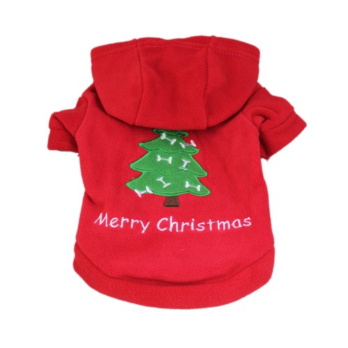 Dog Christmas Tree Paragraph Hooded Sweater Pet Clothes