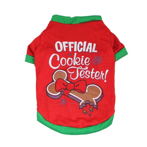 "Christmas Series Dog T Shirt Clothes""Official Cookie Tester"" Pet Coat"