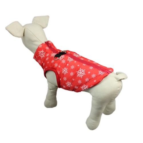 Pet Puppy Snowflake Pattern Vest + Traction Buckle, Red