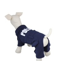 Dark Blue Dog Police Suit Pet Clothes Jacket Jumpsuit