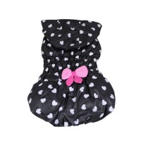 Hearts-shaped Leisure Winter Hoodie Dog Coat-Black