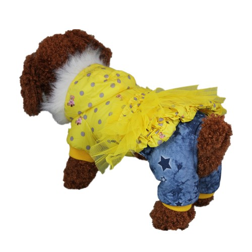 Fashion Winter Hoodie Pet Clothes Dog Coat Jacket, Yellow