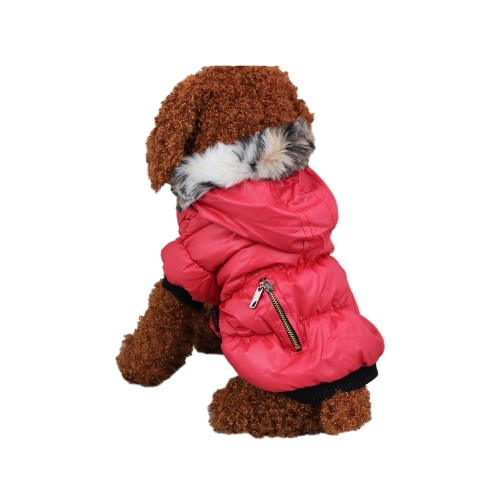 Pets Zipper Classic Winter Dog Hoodie Coat-Red