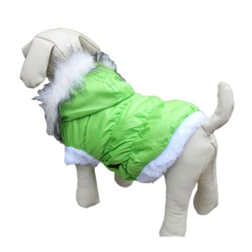 Green Winter Detachable Hat Dog Clothes Costume Outwear