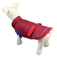 Wing Design Winter Dog Clothes Pet Coat, Purplish Red