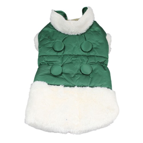 Button Series Warm Winter Dog Clothes Soft Pet Coat, Green