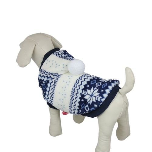 Snowflake Series Hooded Dog Clothes Coat Blue