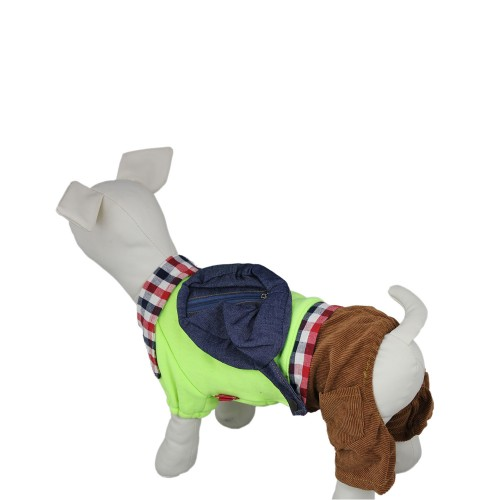 Denim BackPack Plaid Pet Clothes Dog Sweatshirt