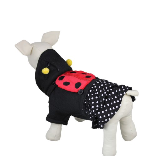Cute Black Ladybug Pet Skirt Dog Hoodie Clothes