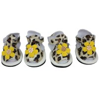 Pet Leopard Printed Sandals Yellow