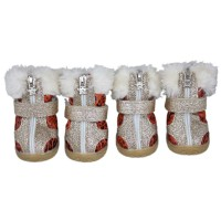Pet Waterproof Leopard Plush Snow Shoes