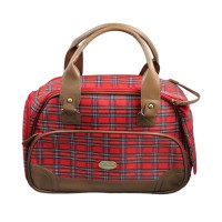 Red Plaid Pet Travel Carrier Dog Bag