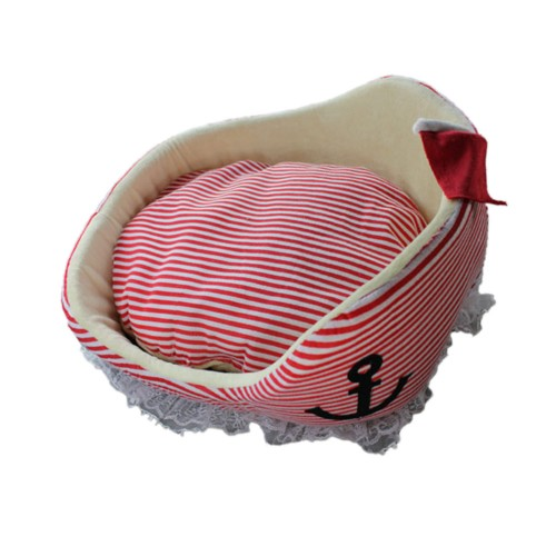 Red Stripes Warships Pet Bed Dog Nest