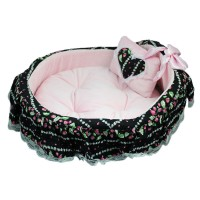 Floral Lace Pet Cradle Super Soft Dog House Black