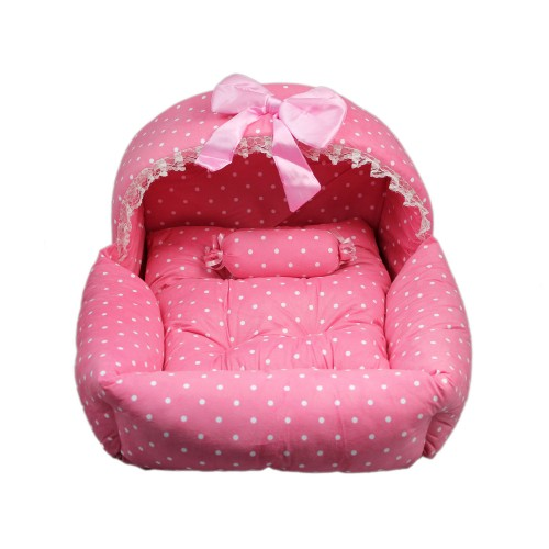 Princess Series Soft Suede Dog House Pet Bed Pink