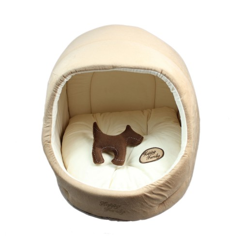 Egg Shape Pet Round Bed Dog Kennel Light Coffee
